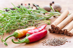Different spicery. Used in food preparation Stock Photo