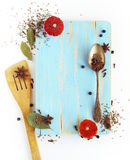 Different spices, anise, laurel, clove and others on a wooden bo. Different spices, anise, laurel, clove and others on wooden board stock photo