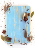 Different spices, anise, laurel, clove and others. On a wooden board stock photo
