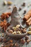 Different spices assortment: cinnamon cardamom pepper Stock Photo
