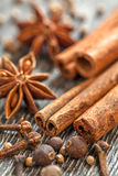 Different spices assortment: cinnamon cardamom pepper Stock Image