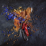 Different spices background. Some spoons with different spices stock photography