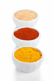 Different spices in bowls isolated on white. stock photography