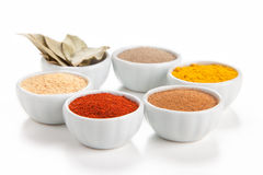 Different spices in bowls on white. stock image