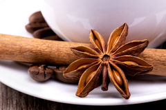 Different spices, Cinnamon, anise on wooden table Royalty Free Stock Photography