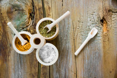 Different spices. Collection of different spices, on wooden table Royalty Free Stock Photo