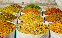 Different spices and food in street market, India Stock Photos