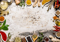 Different spices, herbs and roots view from the top. Stock Image