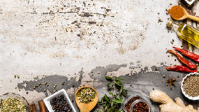 Different spices, herbs and roots view from the top. Royalty Free Stock Photography