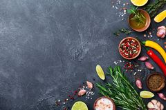 Different spices and herbs on black stone table top view. Ingredients for cooking. Food background.