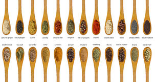 Different spices isolated on white background. stock images
