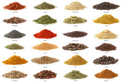 Different spices isolated on white background.