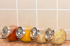 Different spices in jars Royalty Free Stock Photography