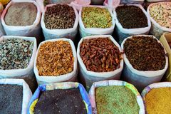 Different spices in market place royalty free stock photography