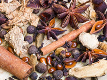 Different spices for mulled wine Royalty Free Stock Photos