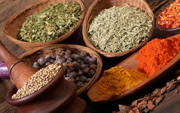 Different spices over a wood background. Stock Photography