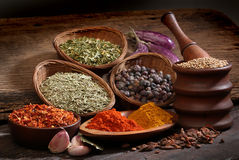 Different spices over a wood background. royalty free stock photos