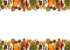 Different spices, seasonings and herbs isolated on white. Background. Seamless horizontal pattern Stock Photos
