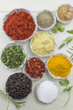 Different spices in shiny bowls on a white wooden table Stock Image