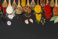 Different spices in wooden spoons. Top view. Royalty Free Stock Images
