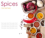 Different spices on a wooden table 7(1).jpg Royalty Free Stock Photos
