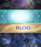 4 different Spiritual Blog Banner heads. Wide website headers with ethereal feathers, shimmering sparkles, cosmic space and healing light trails and the word stock illustration