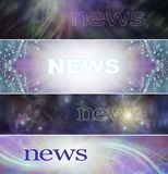 4 different Spiritual News Banner heads. Wide website headers with ethereal feathers, shimmering sparkles, cosmic space and healing light trails and the word stock illustration
