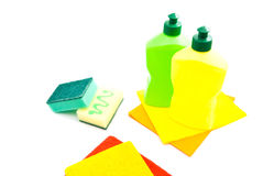 Different sponges, rags and bottles Stock Photo