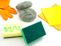 Different sponges, rags and gloves Royalty Free Stock Images