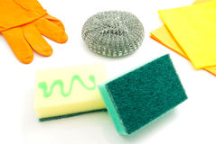 Different sponges, rags and gloves on white Stock Image
