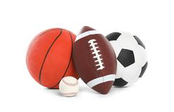 Different sport balls. On white background royalty free stock photography