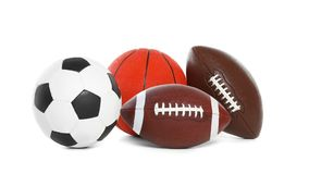 Different sport balls. On white background royalty free stock images