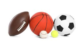 Different sport balls. On white background stock images