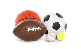 Different sport balls. On white background royalty free stock photo
