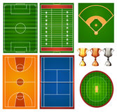 Different sport courts and trophy Stock Images
