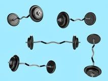 Different sport equipments on background. 3d render illustration