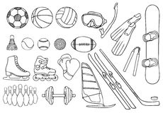 Different sport items  vector set Royalty Free Stock Image