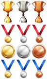 Different sport trophies and medals Royalty Free Stock Photo