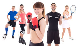 Different sports concept - bodybuilder, female tennis player, wo Stock Photography