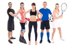Different sports concept - young people in spotswear isolated on Royalty Free Stock Photo