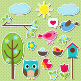 Different spring elements Royalty Free Stock Photo