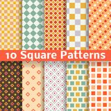 Different square vector seamless patterns. 10 Different square vector seamless patterns (tiling). Endless texture can be used for printing onto fabric and paper Royalty Free Stock Image