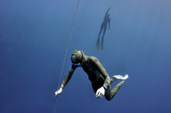 Different stages of freediving training Stock Image