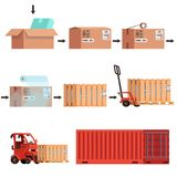 Different stages of sending the goods from the package to the transportation in the container. Transportation of cardboard box stock illustration