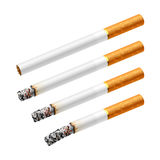 Different stages of smoking a cigarette Royalty Free Stock Photography