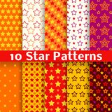 Different star vector seamless patterns (tiling). 10 Different star vector seamless patterns (tiling). Endless texture can be used for printing onto fabric and Stock Images