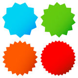 Different starburst / sunburst badges, shapes in 4 color. Royalty free vector illustration Stock Photography
