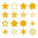 Different stars collection - Yellow Vector Illustration - Isolated On White. Background Royalty Free Stock Photo