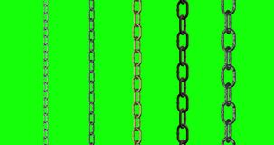 5 types metal chains work green screen loop animation 3d