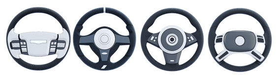 Different steering wheels  on white background. 3d rende. Ring Royalty Free Stock Photography